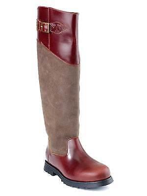 Descri Houston marrón castaño de cuero impermeable de la rodilla, botas de montar