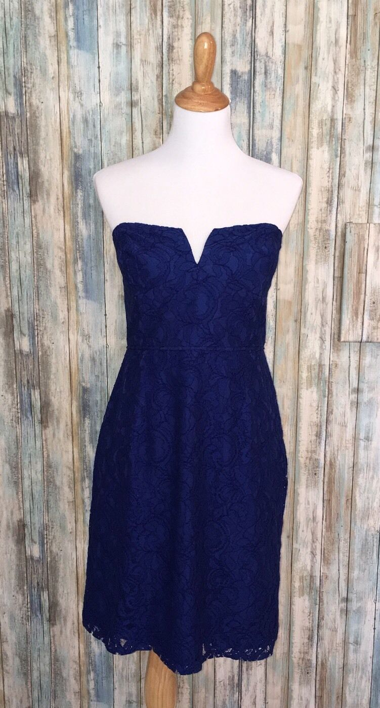NWT J.CREW Cathleen dress in Leavers Lace Deep Pacific Blau 12