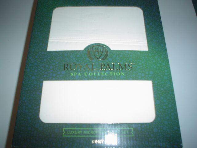 Royal Palms Spa Collection King Ivory Sheet Set Microfiber New