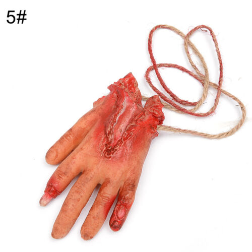 WO/_ Realistic Halloween Fake Body Parts Party Props Scary Bloody Hanging Decor O