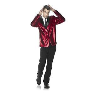 Adult-Mens-Retro-Style-Doo-Wop-1950-039-s-Halloween-Costume-Red-Blazer-Jacket-OS-2XL