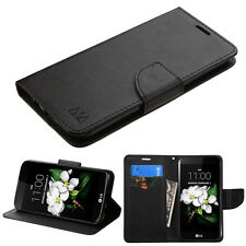 NEW FOR LG Tribute 5 / K7 BLACK WALLET LEATHER COVER CASE + SCREEN PROTECTOR