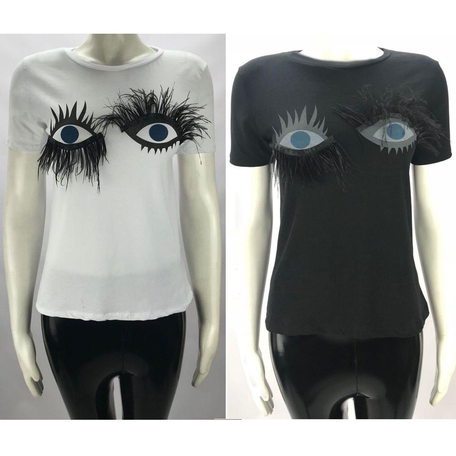 Damen 3D WIMPERN kurzärmliges T-Shirt Hemd Freizeit T-Shirt Größe 6-12