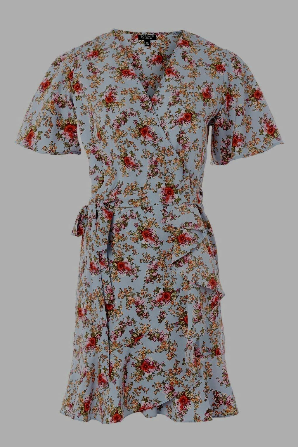 BNWT Topshop bluee Ditsy Floral Confetti Wrap Style Tea Dress - Size 10
