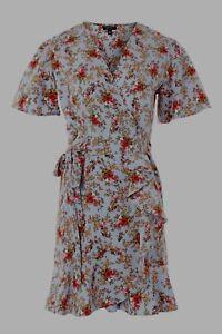 Dress Topshop Taglia Blue Wrap Style Ditsy Tea 12 Confetti Bnwt Floral 46wd8gZ6q