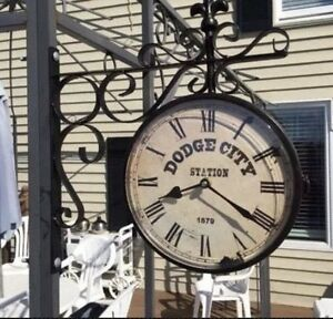Image Is Loading Dodge City Railway Station Clock Double Sided
