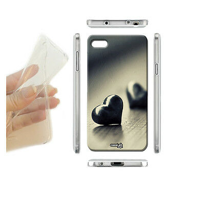 CUSTODIA COVER CASE GEL CUORI METALLICI PER HUAWEI ASCEND P8 LITE