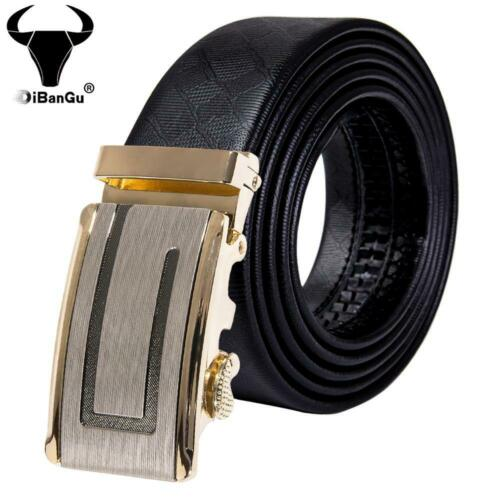 Black Buckles Mens Belts Black Ratchet Leather Straps Automatic Formal Waistband