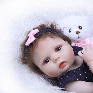 """Newborn Reborn Baby Dolls Silicone Full Body Girls Blue Eyes Realistic Child 19/"""""""