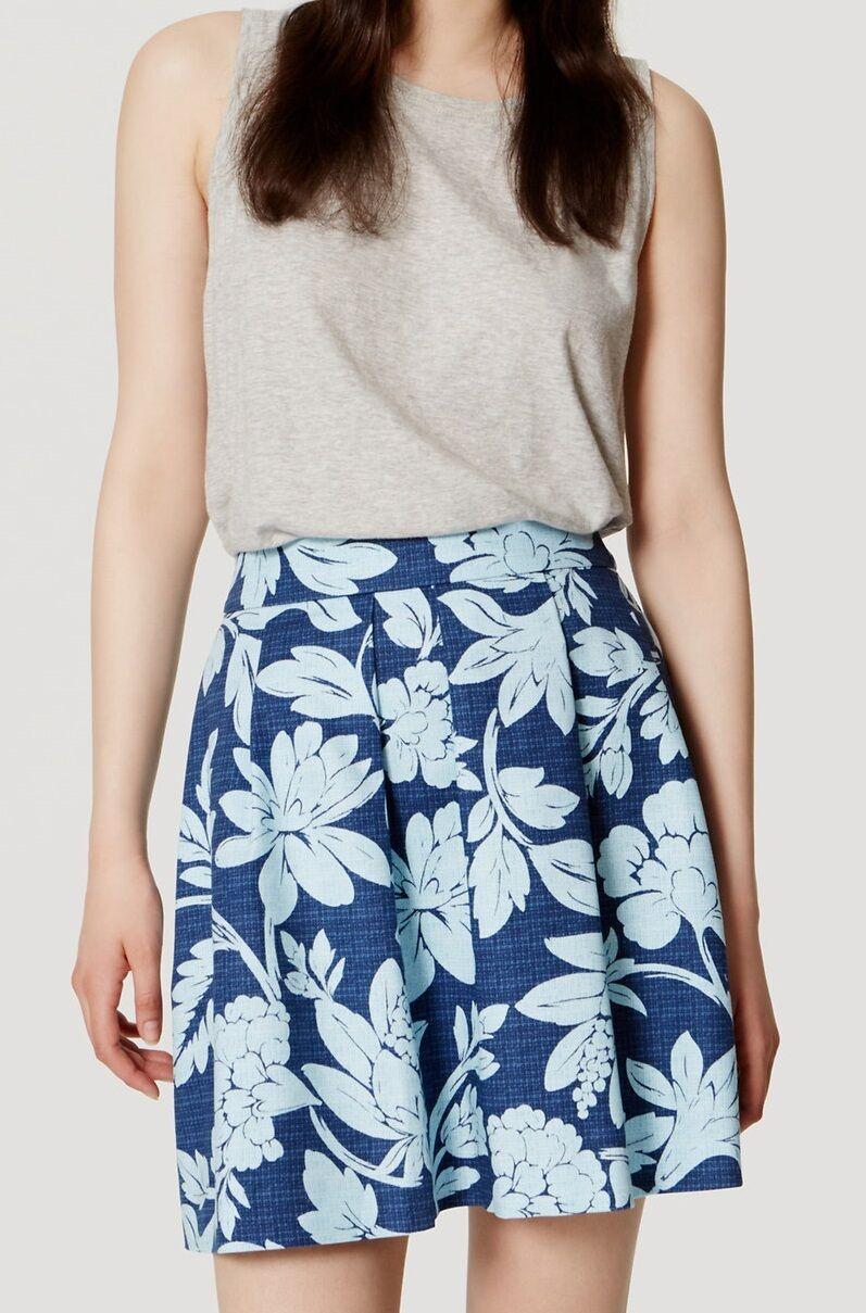 Ann Taylor LOFT Floral Doubleweave Pleated Skirt Size 16 NWT Indigo Beam color