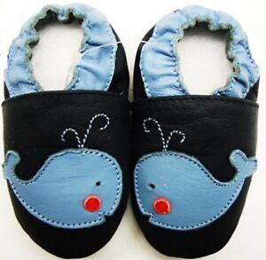 Suave-Suela-Bebe-Cuero-Zapatos-Ballenas-Azul-Marino-12-18-M-Minishoezoo-Regalo