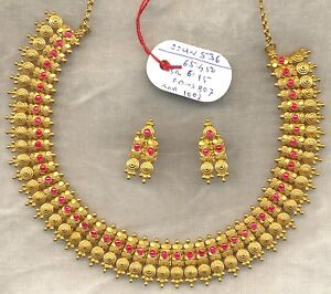 Image Is Loading Vintage Solid 22 Carat Gold Necklace Amp Earring