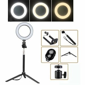 "8"" LED SMD Ring Light Kit Set with Stand Dimmable 5500K for Makeup Phone Camera 634383415368"