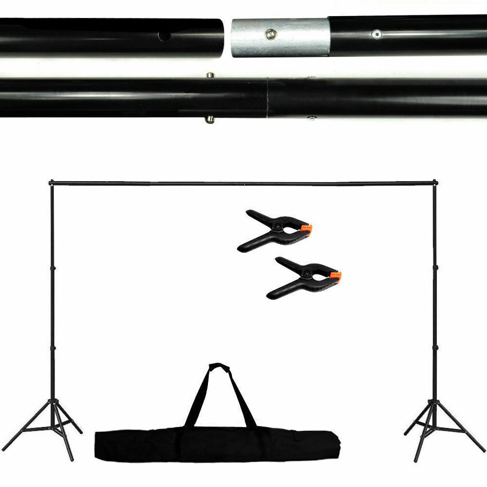 Adjustable Background Support Stand Photo Backdrop Crossbar Kit Photography 10Ft 2