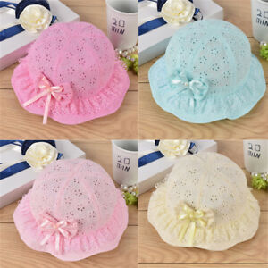 c7d04127 Cute Princess Hollow Bow Baby Girls Infant Hat Lace Summer Flower ...