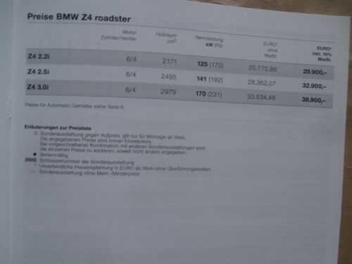 BMW tarif 520i 525i 530i 535i 540i 520d-530d e39 Berline Touring 9//2002