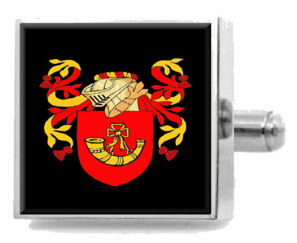 Treu Hörner England Heraldik Wappen Sterling Silber Manschettenknöpfe Graviert