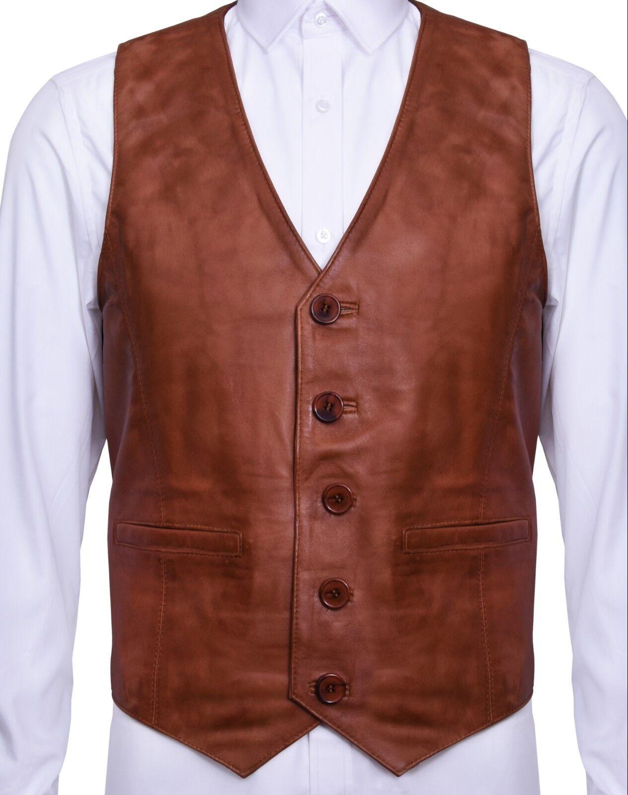 Herren Soft  Tan Leder Waistcoat Classic Casual Formal Traditional Gilet Vest