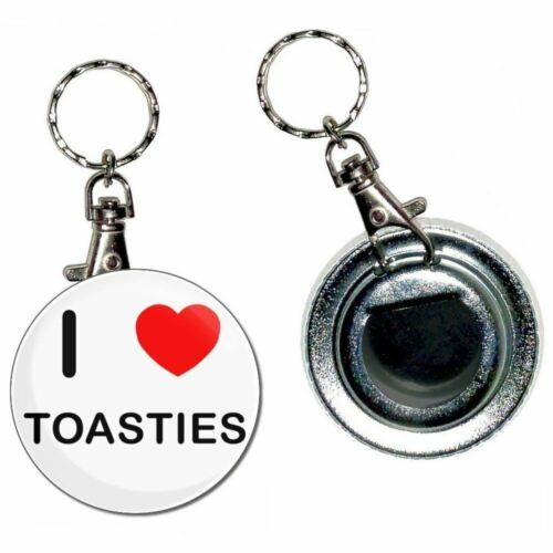 I Love Heart Toasties 55mm Button Badge Bottle Opener Key Ring New