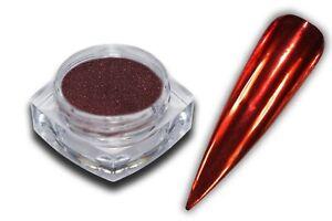 Chrom Effekt Pigment Puder Rot Red Glitzer Glitter Pulver Mirrow Nail Art Nagel