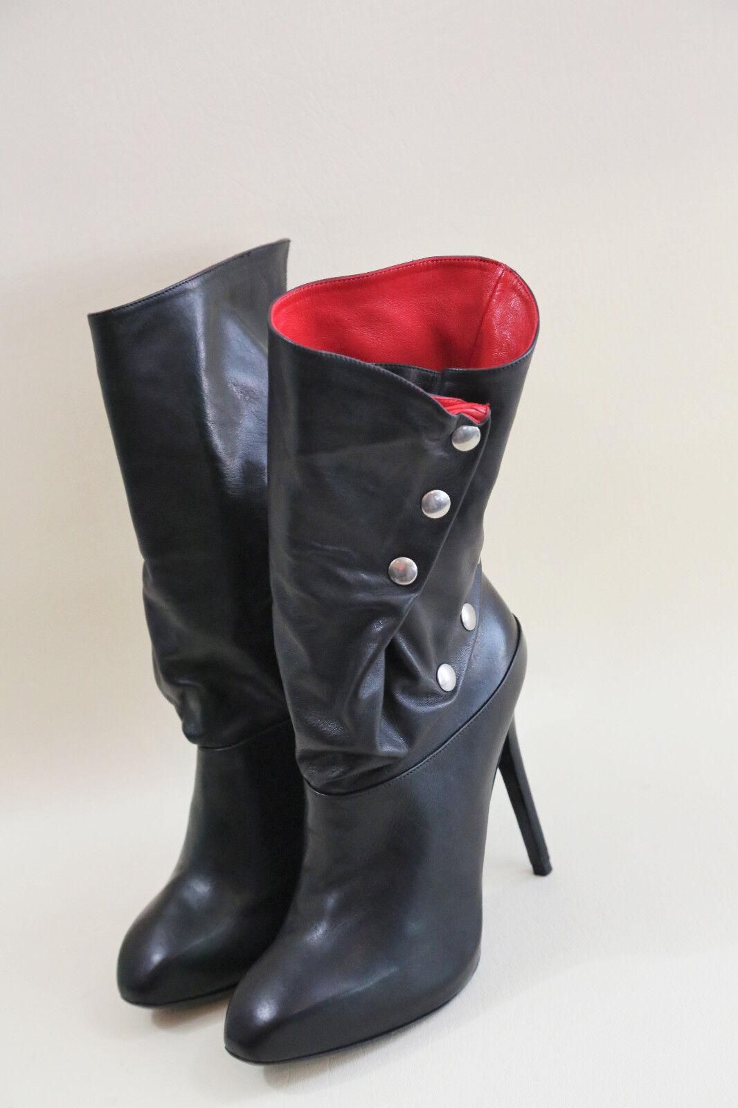 presa di fabbrica  14 Alexander McQueen nero Leather rED Lining Snap Button Button Button stivali Dimensione 37.5  i nuovi stili più caldi