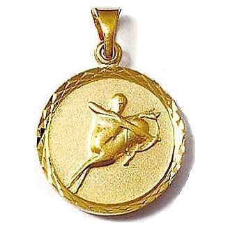 Pendentif Médaille Zodiaque Verseau 18 mm Plaqué Or 18K 5 Microns Dolly-Bijoux