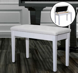 HOMCOM Leather Padded Piano Bench w/ Storage Double Duet Seating Keyboard White