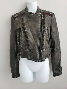 EUC-Sam-Edelman-Circus-Motorcycle-Dark-Grey-Sz-M-Zip-Up-Short-Jacket-w-Pockets