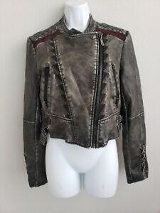 EUC Sam Edelman Circus Motorcycle Dark Grey Sz M Zip Up Short Jacket w/ Pockets