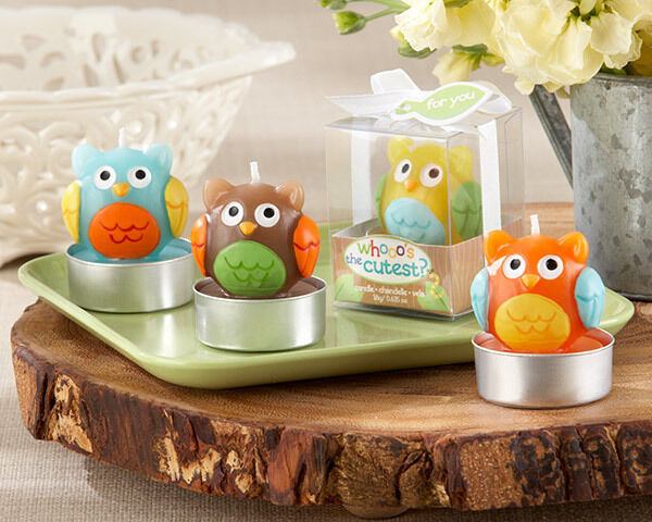 Whooo's the Cutest Tea Light Candle Woodland Owl Birthday Baby Shower Favors