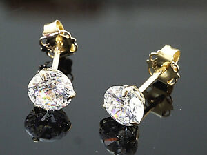 585-Gold-Ohrstecker-gestempelt-1-Paar-4-mm-Zirkonia-mit-3-Krappen