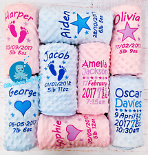 PERSONALISED BABY BLANKET DIMPLE EMBROIDERED BLUE PINK BABY GIFT NEW BORN BABY