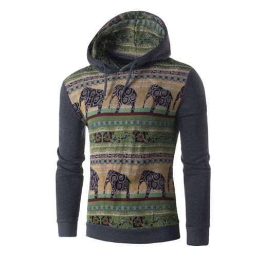Mens Long Sleeve Hooded Sweatshirt Winter Warm Slim Hoodie Pullover Outwear Coat