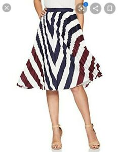 RRP-140-new-rowing-stripe-Ted-baker-pleated-midi-skirt-size-2-10-12-blue-white