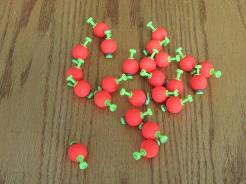 """Red Foam SNAP ON FLOAT 24 .75/"""" FISHING BOBBERS Round Weighted Floats Flo"""