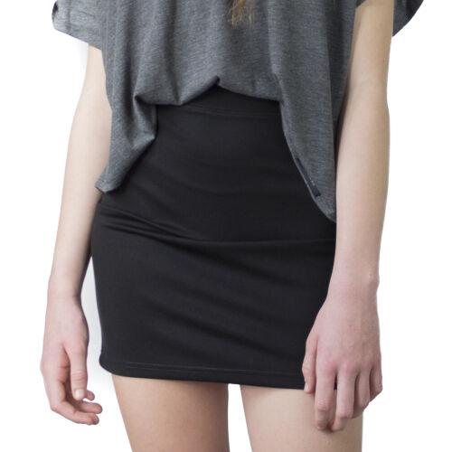 LACHERE Black Mini Skirt StretchTubeHigh WaistBodyconElastic Waist