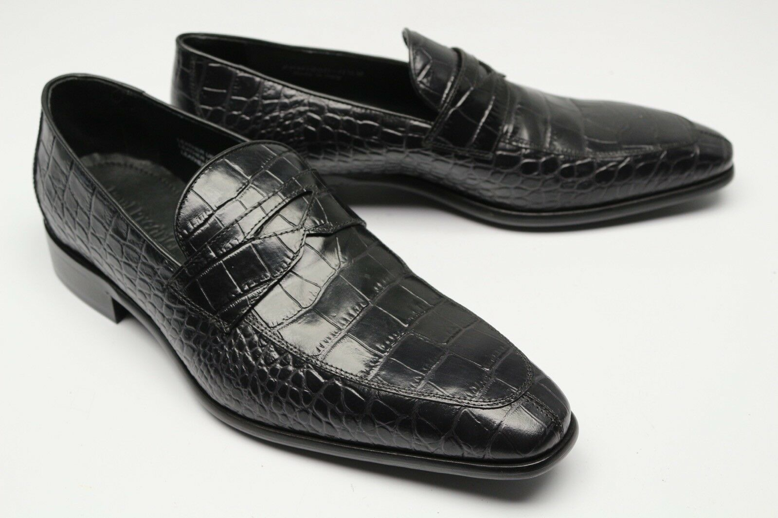 Neu Paul Frotrick Krokodil-Aufdruck Pennyloafer 11.5  Schwarze Lederschuhe     Verschiedene Arten und Stile