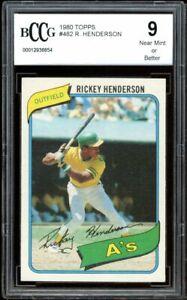 1980 Topps #482 Rickey Henderson Rookie Card BGS BCCG 9 Near Mint+