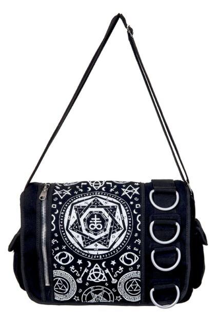 Pentagram Black Gothic Punk Occult Rock Emo Messenger Bag By Banned Apparel