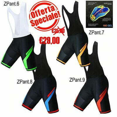 BICI MTB PANTALONE DA BICI CICLISMO FONDELLO IN GEL CYCLING BIB PANTS GEL PAD