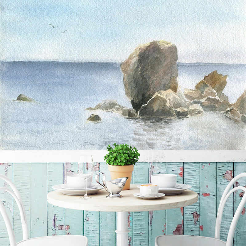 3D Stones Sea Draw 7 Wall Paper Murals Wall Print Wall Wallpaper Mural AU Summer