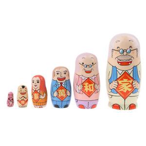 5pcs Family Figure Printed Babushka Russian Nesting Doll Matryoshka Toy Gift