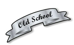 Silver-Effect-Scroll-OLD-SCHOOL-Retro-Cafe-racer-Hotrod-car-Helmet-Sticker-decal