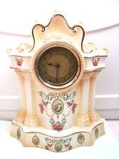 "Crown Devon Style Porcelain Flower Decoration Case Timepiece Mantle Clock 16""H"