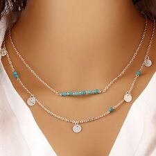 Silver Double Chain Turquoise Bead Necklace Boho Jewellery Gypsy Bohemian A093