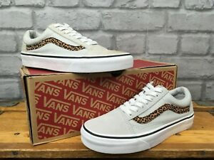 VANS-LADIES-OLD-SKOOL-GREY-LEOPARD-CANVAS-SUEDE-TRAINERS-VARIOUS-SIZES-RRP-50-T