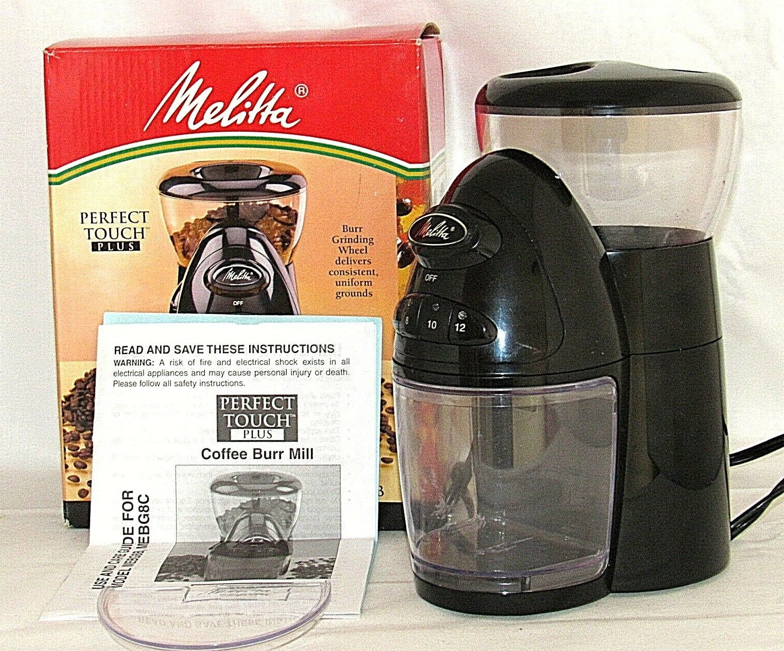 Melitta Perfect Touch Plus Coffee Mill Burr Grinder Programmable MEBG8B