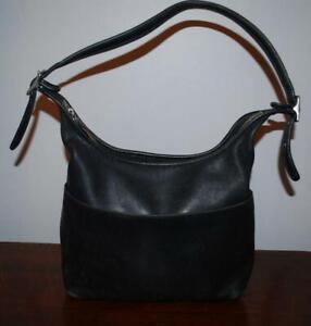 Vintage-Coach-Black-Leather-Hobo-Bag-9058-Buckle-Strap