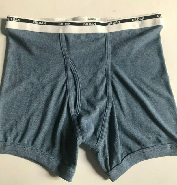 Vintage GILDAN Mens Classic Blue Heather Boxer Brief Underwear Sz L Free Ship