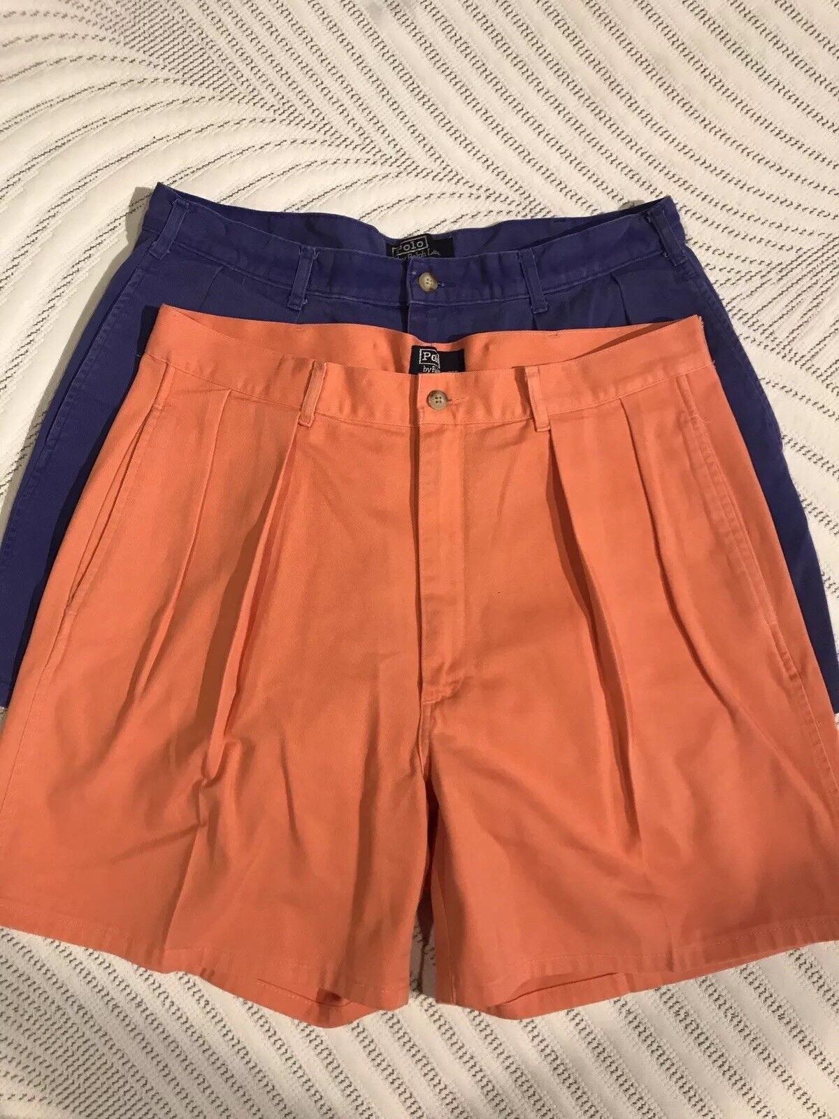 b936282f5c6dab Lot 2 Mens VTG Salmon bluee Polo Ralph Lauren Shorts USA 36 Pleated ...